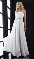 Size 12 White Jasz 5032 Ruched Bust Evening Dress image