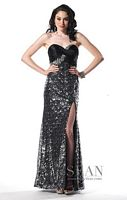 Sean Collection Silver and Black Strapless Prom Dress 50430 image