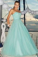 Pink by Blush Prom Tulle Ball Gown with Thin Vertical Streams 5107 image