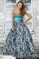 Pink by Blush Prom Turquoise Print Sequin Ball Gown 5113 image
