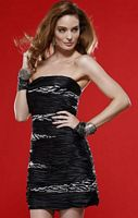 Scala Strapless Ruched Satin Beaded Cocktail Dress 5167 image