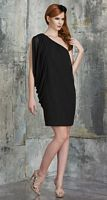 Size 8 Black Bari Jay 536 One Shoulder Short Chiffon Bridesmaid Dress image