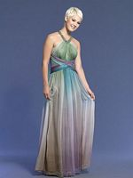 Dave and Johnny Long Teal Chiffon Prom Dress 5421 image