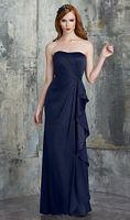 Size 12 Navy Bari Jay 544 Draped Side Ruffle Long Bridesmaid Dress image