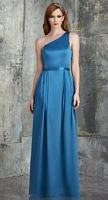 Size 12 Turquoise Bari Jay 545 One Shoulder Long Bridesmaid Dress image