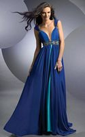 Shimmer Two Tone Deep V Neck Prom Dress 59201 by Bari Jay image