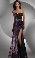 Shimmer Sequin Prom Dress with High Slit 59406 by Bari Jay image