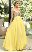 Size 2 Yellow Alyce Paris 6005 Halter Chiffon Evening Dress image