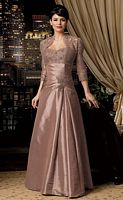 Caterina Collection by Jordan Lace Taffeta Empire MOB Dress  6006 image