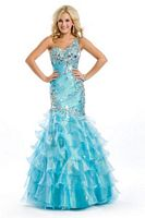 Party Time Formals 6006 One Shoulder Ruffle Mermaid Dress image