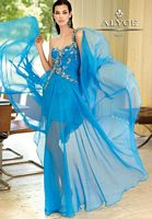Size 10 Blue Alyce Paris Silky Chiffon One Shoulder Evening Dress 6021 image