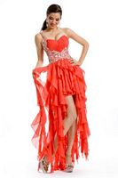 Party Time 6026 Ruffle Chiffon High Low Dress image