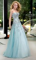 Alyce 6029 Paris Tulle Evening Dress with Sheer Lace Midriff image