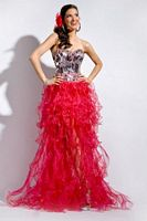Size 4 Raspberry Party Time 6055 Ruffle Organza High Low Dress image