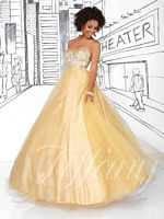 Size 8 Butterscotch Tiffany 61107 Beaded Tulle Ball Gown image