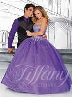 Tiffany Designs 61112 Beaded Corset Tulle Ball Gown image
