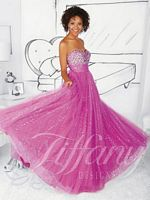 Size 2 Raspberry Tiffany 61116 Sequin Net Ball Gown image