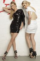 Nicole Bakti One Shoulder Draped Sleeve Short Dress 6154 image