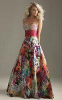 Bright Splatter Print Satin Charmeuse Night Moves Evening Dress 6207 image