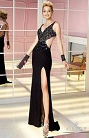 Alyce 6218 V Neck Jersey Cutout Gown image
