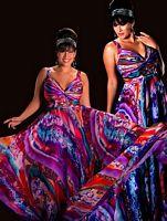 Cassandra Stone II Purple Print Plus Size Prom Dress 6287K image