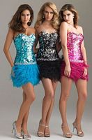 Night Moves Short Party Prom Dress with Feathers 6402 image
