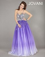 Jovani 6432 Ombre Ball Gown with Mirror Beading image