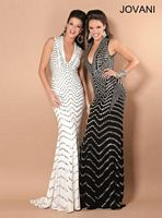 Jovani 6433 Plunging Neck Beaded Print Gown image