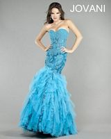 Jovani Tulle Ruffle Mermaid Party Dress 6513 image