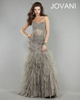 Jovani Drop Waist Gown 6534 with Sheer Panels image