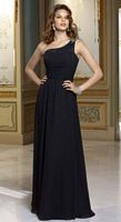 Mori Lee 655 Chiffon One Shoulder Long Bridesmaids Dresses image