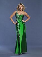 Dave and Johnny Long Green Beaded Prom Dress 6616 image
