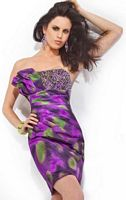 Party Time Purple Print Cocktail Dress with Beading 6640 image