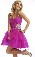 Party Time Strapless Tiered Short Party Dress 6641 image