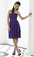 After Six 6649 Dessy Cocktail Length Bridesmaid Dress with Ruffles image