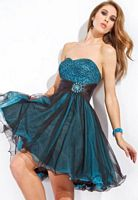 Party Time Short Strapless Beaded Party Dress 6655 image