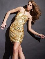 Party Time Fully Sequined Halter Cocktail Dress 6656 image