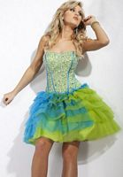Party Time Sequin Drop Waist Tiered Short Party Dress 6657 image
