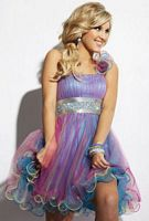 Party Time One Ruffle Shoulder Rainbow Short Party Dress 6658 image