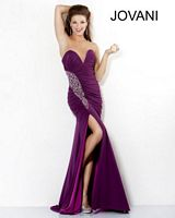 Jovani Deep Sweetheart Gown with High Slit 6659 image