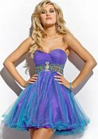 Party Time Two Tone Layered Short Party Dress 6660 image