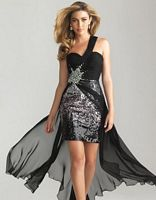 Size 10 Purple Night Moves 6668 High Low One Shoulder Dress image