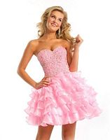 Party Time Liquid Organza Ruffle Short Prom Dress 6669 image