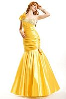 Party Time One Shoulder Stretch Taffeta Prom Dress 6670 image