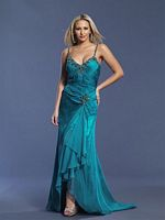 Dave and Johnny Long Teal Beaded Chiffon Prom Dress 6672 image