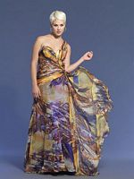 Dave and Johnny Long Print Beaded Chiffon Prom Dress 6673 image