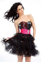 Party Time Short Prom Dress with Removable Short Tulle Skirt  6675 image