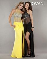 Jovani 668 Sheer Top Gown with Ruching image