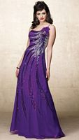 Alyce Designs One Shoulder Beaded Silk Chiffon Evening Dress 6688 image