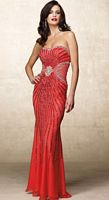 Alyce Designs Beaded Silk Chiffon Evening Dress with Sheer Effect 6690 image